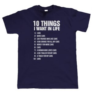 10 thing i want classic car t shirt